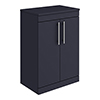 Arezzo Floor Standing Countertop Vanity Unit - Matt Blue - 600mm with Industrial Style Chrome Handles profile small image view 1