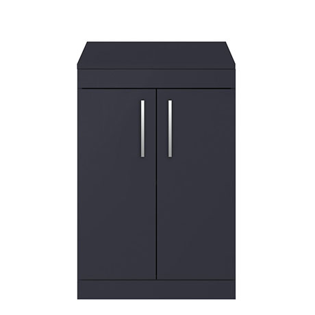 Arezzo 600 Matt Blue Floor Standing Vanity Unit with Worktop + Chrome Handles