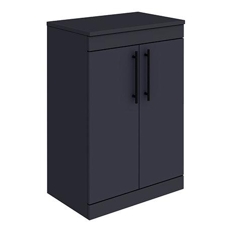 Arezzo Floor Standing Countertop Vanity Unit - Matt Blue - 600mm with Industrial Style Matt Black Ha