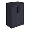 Arezzo Floor Standing Countertop Vanity Unit - Matt Blue - 600mm with Industrial Style Matt Black Handles profile small image view 1