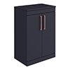 Arezzo 600 Matt Blue Floor Standing Vanity Unit with Worktop + Rose Gold Handles profile small image view 1