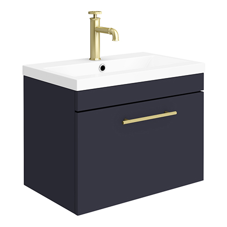 Arezzo Wall Hung Vanity Unit - Matt Blue - 600mm with Industrial Style Brushed Brass Handle