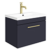 Arezzo Wall Hung Vanity Unit - Matt Blue - 600mm with Industrial Style Brushed Brass Handle profile small image view 1