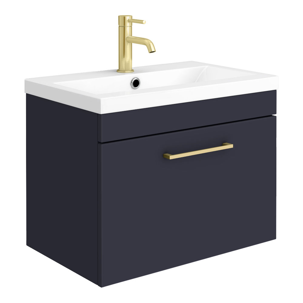 Arezzo 600 Matt Blue Wall Hung 1-Drawer Vanity Unit with Brushed Brass Handle