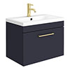 Arezzo 600 Matt Blue Wall Hung 1-Drawer Vanity Unit with Brushed Brass Handle profile small image view 1