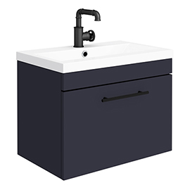 Arezzo Wall Hung Vanity Unit - Matt Blue - 600mm with Industrial Style Black Handle