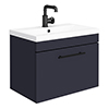 Arezzo Wall Hung Vanity Unit - Matt Blue - 600mm with Industrial Style Black Handle profile small image view 1