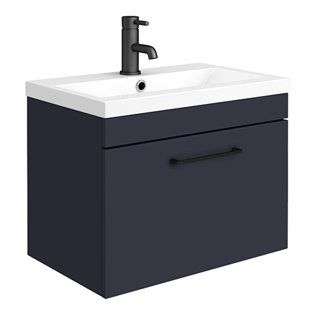 Arezzo 600 Matt Blue Wall Hung 1-Drawer Vanity Unit with Matt Black Handle