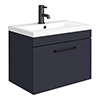 Arezzo 600 Matt Blue Wall Hung 1-Drawer Vanity Unit with Matt Black Handle profile small image view 1