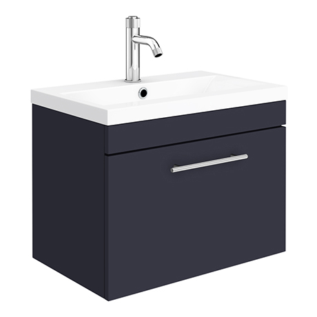 Arezzo Wall Hung Vanity Unit - Matt Blue - 600mm with Industrial Style Chrome Handle
