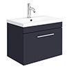 Arezzo Wall Hung Vanity Unit - Matt Blue - 600mm with Industrial Style Chrome Handle profile small image view 1
