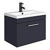 Arezzo 600 Matt Blue Wall Hung 1-Drawer Vanity Unit with Chrome Handle profile small image view 1