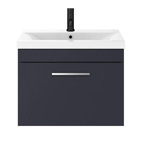 Arezzo 600 Matt Blue Wall Hung 1-Drawer Vanity Unit with Chrome Handle