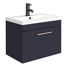 Arezzo 600 Matt Blue Wall Hung 1-Drawer Vanity Unit with Rose Gold Handle
