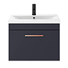 Arezzo 600 Matt Blue Wall Hung 1-Drawer Vanity Unit with Rose Gold Handle profile small image view 1