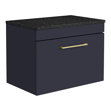 Arezzo Wall Hung Countertop Vanity Unit - Matt Blue - 600mm with Black Worktop & Brushed Brass Handl