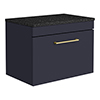 Arezzo Wall Hung Countertop Vanity Unit - Matt Blue - 600mm with Black Worktop & Brushed Brass Handle profile small image view 1