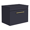 Arezzo Industrial Style 600 Matt Blue Wall Hung Vanity Unit with Worktop + Brushed Brass Handle profile small image view 1