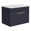 Arezzo Wall Hung Countertop Vanity Unit - Matt Blue - 600mm with White Worktop & Brushed Brass Handle profile small image view 1