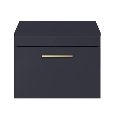 Arezzo 600 Matt Blue Wall Hung Vanity Unit with Worktop + Brushed Brass Handle