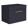 Arezzo 600 Matt Blue Wall Hung Vanity Unit with Worktop + Brushed Brass Handle profile small image view 1