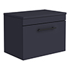 Arezzo Wall Hung Countertop Vanity Unit - Matt Blue - 600mm with Industrial Style Black Handle profile small image view 1