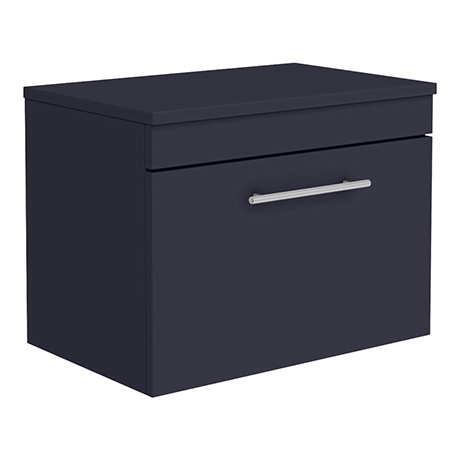 Arezzo Industrial Style 600 Matt Blue Wall Hung Countertop Vanity Unit with Chrome Handle