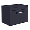 Arezzo Wall Hung Countertop Vanity Unit - Matt Blue - 600mm with Industrial Style Chrome Handle profile small image view 1