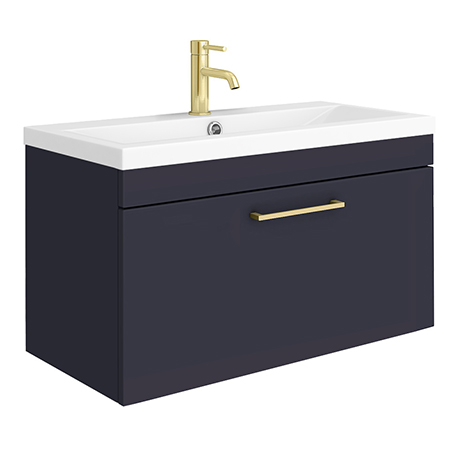 Arezzo Wall Hung Vanity Unit - Matt Blue - 800mm with Brushed Brass Handle