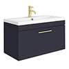 Arezzo Wall Hung Vanity Unit - Matt Blue - 800mm with Brushed Brass Handle profile small image view 1