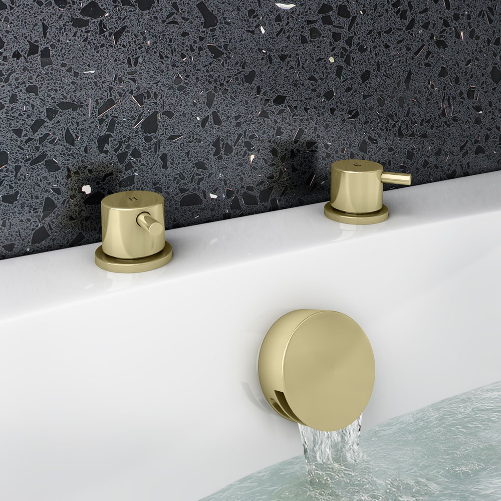 Arezzo Brushed Brass Deck Bath Side Valves with Freeflow Bath Filler