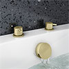 Arezzo Brushed Brass Deck Bath Side Valves with Freeflow Bath Filler profile small image view 1