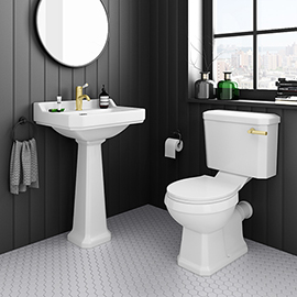 Arezzo Traditional 4-Piece 1TH Bathroom Suite (inc. Brushed Brass Lever)