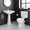 Arezzo Traditional 4-Piece 1TH Bathroom Suite (inc. Brushed Brass Lever) profile small image view 1