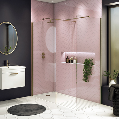 Arezzo 1400 x 900 Brushed Brass Wet Room (Inc. Screen, Side Panel + Tray)