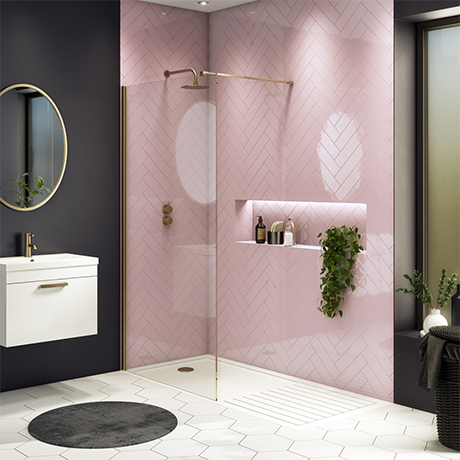 Arezzo 1700 x 800 Brushed Brass Wet Room (Inc. Screen + Tray)