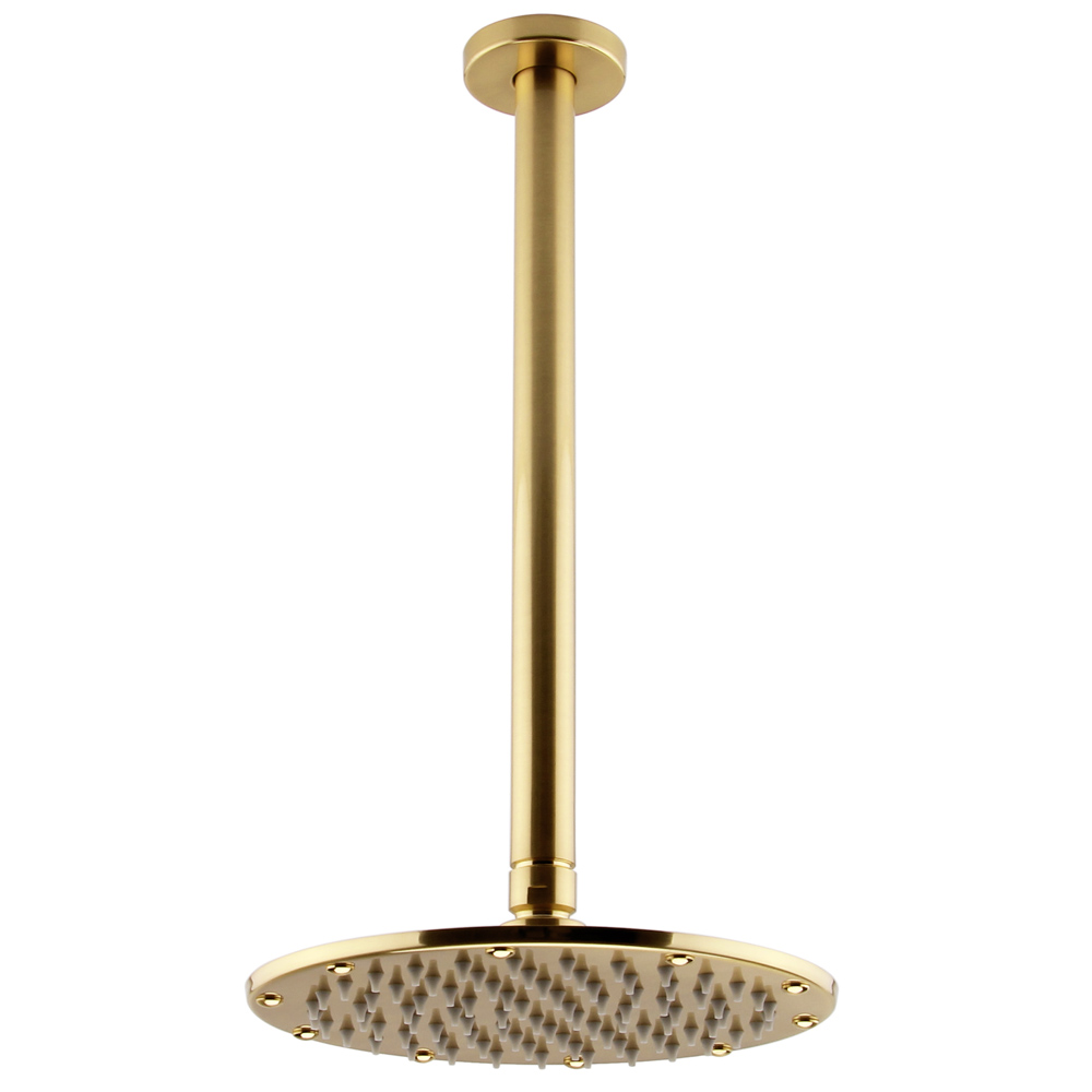 Arezzo Brushed Brass 195mm Thin Round Shower Head + 300mm Ceiling Mounted Arm