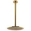 Arezzo Brushed Brass 195mm Thin Round Shower Head + 300mm Ceiling Mounted Arm profile small image view 1