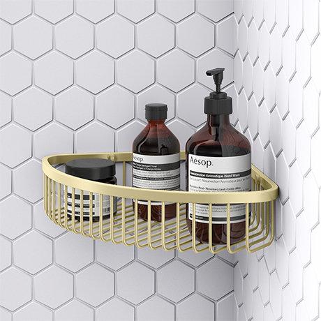 Arezzo Brushed Brass Wire Corner Shower Basket