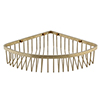 Arezzo Brushed Brass Wire Corner Shower Basket profile small image view 1