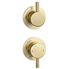 Arezzo Brushed Brass Concealed Individual Stop Tap + Thermostatic Control Shower Valve profile small image view 1