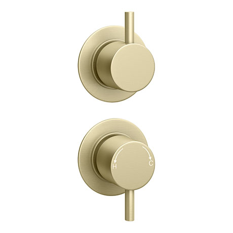 Arezzo Brushed Brass Concealed Individual Stop Tap + Thermostatic Control Shower Valve