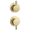 Arezzo Brushed Brass Concealed Individual Diverter + Thermostatic Control Shower Valve profile small image view 1
