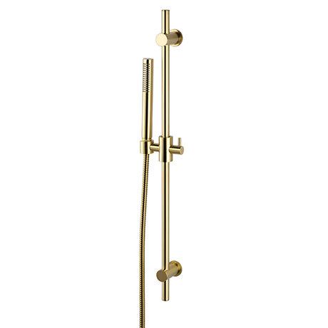 Arezzo Brushed Brass Modern Slide Rail Kit with Pencil Shower Handset