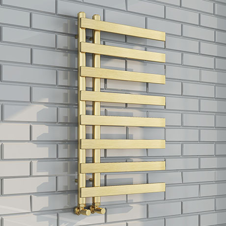 Arezzo Brushed Brass 800 x 500mm 8 Bars Designer Heated Towel Rail