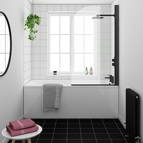 Arezzo Black Curved Top Straight Hinged Round Shower Bath