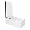Arezzo Black Curved Top Straight Hinged Round Shower Bath profile small image view 1