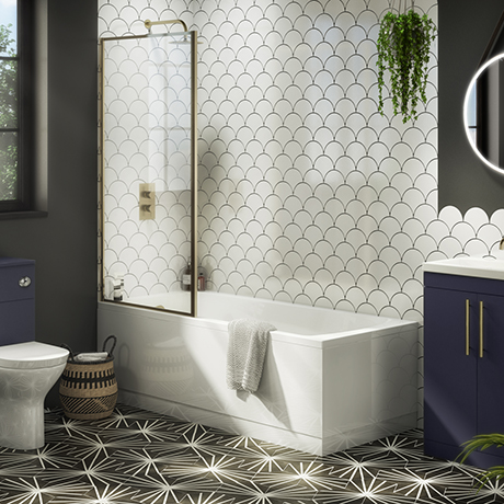 Arezzo Straight Square Shower Bath w. Brushed Brass Framed Fixed Screen