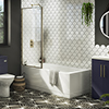 Arezzo Straight Square Shower Bath w. Brushed Brass Framed Fixed Screen profile small image view 1