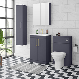 Arezzo Blue Floor Standing Vanity Unit, Tall Cabinet + Toilet Pack with Brass Handles
